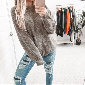 Vintage Oversized Chunky Knit Crewneck Sweater Tan